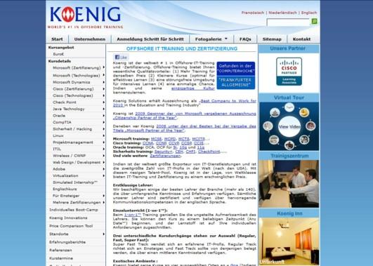 Screenshot von Koenig Solutions - Deutscher Name für internationales Unternehmen