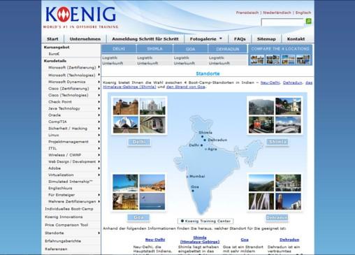 Screenshot von Koenig Solutions - Deutscher Name für internationales Unternehmen - mit Indienkarte