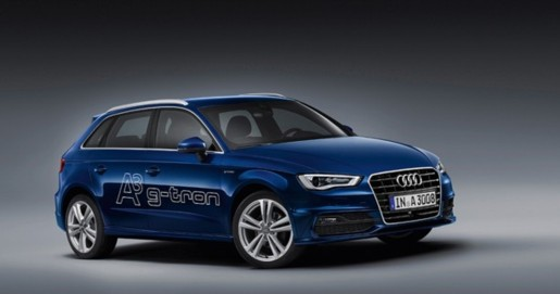 Bild des Audi A3 g-tron in blau, Illustration des Namenstests