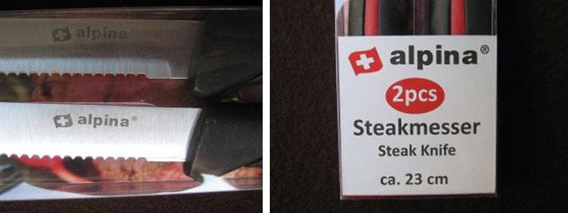 Details der Alpina Messer: Namensaufdruck + Schild